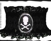 egl gothic skull Cross Bones victorian mourning unisex choker cameo FREE SHIPPING
