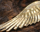 Artisan Angel Wing Pendant in Antiqued Gold Bronze AD-210