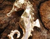 Seahorse Charm in Golden Bronze
