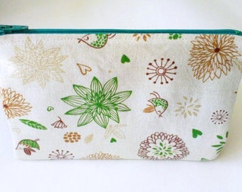 green polka dots japanese fabric floral zipper pouch