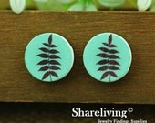 Buy 1 Get 1 Free - Leaf Wood Cabochon, Wooden Button,12mm 15mm 20mm  Round Handmade Photo Wood Cut Cabochon   -- HWC011Q