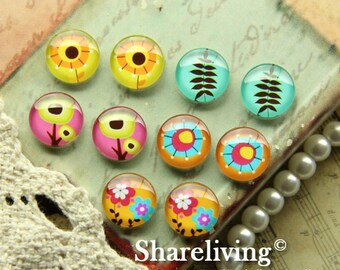 Time Limited Offer - 20% OFF - 10pcs 12mm Mixed Handmade Photo Glass Cabochon / Wooden Cabochon  -- MCH004D