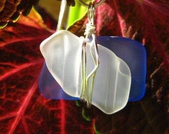 sea glass inspired vintage blue and white bottle glass pendant wired wrapped and whimsical