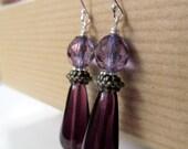 Purple Teardrop Glass Sterling Silver Earrings