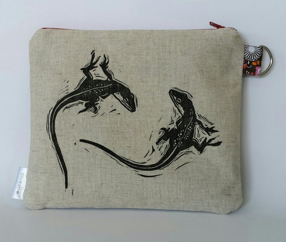 Little Lizard Zipper Pouch with key ring, Reptile Pet Gift: linoleum block hand printed on unbleached linen