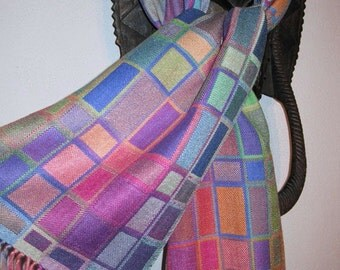 MADE TO ORDER for you Handwoven Silk Scarf, Doubleweave Hand Dyed Multicolor Silk Scarf, Accessories by Tisserande