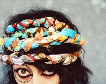 Braided and Tattered Gypsy Headband, Ethnic Turban Head band, teal creambrown multi color Bohemian long wrap around