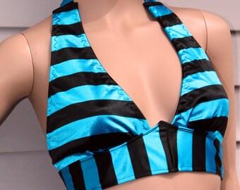 Stripe Halter Top, Festival Bra, Tribal Belly Dance Top, black and blue stripes, Yoga Tank Top
