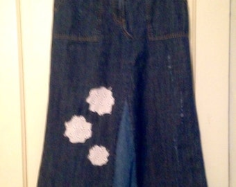 Upcycled Blue Jean Skirt Altered Couture