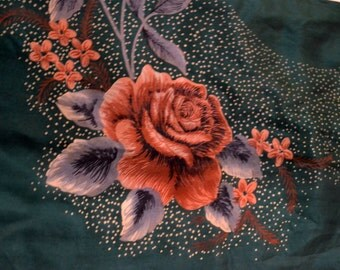 Vintage Silk Scarf  Rose on Dark Green  28 inch Sq