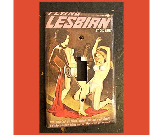 Lesbian pulp switch plate retro vintage paperback art sleaze pin up girl kitsch light switch