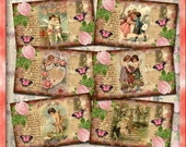 Post Card Tags/Labels -Antiqued Vintage Romantic Whimsical Art -Printable Collage Sheet JPG Digital File-BuY OnE GeT OnE FREE