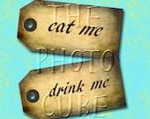 Drink Me and Eat Me- CHaRMinG Primitive Alice In Wonderland Mini Tags-Printable Collage Sheet JPG Digital File- Buy One Get One FREE