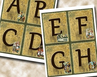 """Alice In Wonderland Alphabet/Letters Numbers Pennants/Flags/Cards-4""""X5"""" -Set of TEN Charming Printable Collage Sheets Digital JPG Files"""