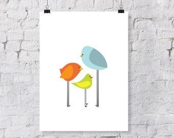 birdie family  - nursery art print