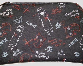 Emily the Strange Zipper Pouch: Skulls, Black Cats, Alone. Made to Order.