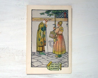 King and Snake - 1903 Book Plate Children's Book - The Golden Rod Fairy Book