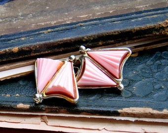 Vintage Earrings - Baby Pink Lucite Gold Tone Earrings - Triangles