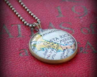 Costa Rica Map Necklace