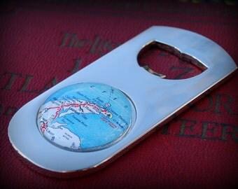 Keweenaw Peninsula Map Bottle Opener - Great Groomsmen Gift