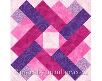 Siena Square quilt block pattern, paper pieced quilt patterns, instant download, PDF pattern, signature quilt block, geometric quilt pattern