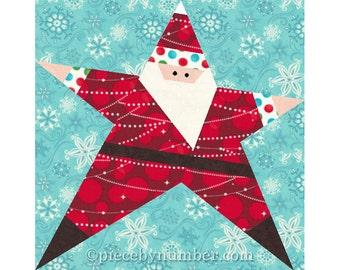 Santa quilt pattern, paper piecing quilt patterns, Christmas patterns, holiday quilt patterns, Santa Star quilt, foundation pieced