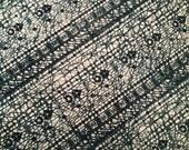 100% Keris Batik Wax Processing FAT QUARTER - Dark Green Positive Slope Print - Vintage Unused