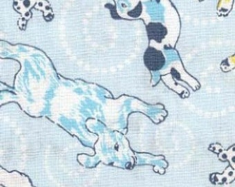 Flying Pups in Blue at48-blue - Soliel by Annette Tatum - Free Spirit Fabrics FAT QUARTER FQ