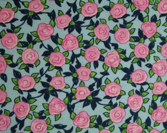 FAT QUARTER Whimsical Retro Pink Rose Flowers on Blue Aunt Lindy's Paper Dolls b7174-7 by Blue Hill  retro pink roses cotton fabric