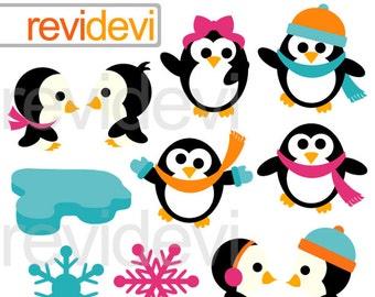 Penguin clipart - Cute winter cliparts - Joyful penguins digital cliparts - instant download - commercial use