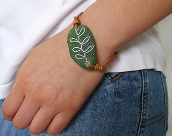 Green Seaglass Olive Branch Peace Bracelet