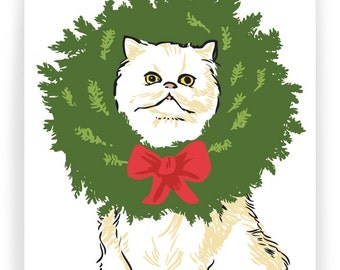 Persian Cat in Wreath - Boxed Set of 8 Holiday Cards