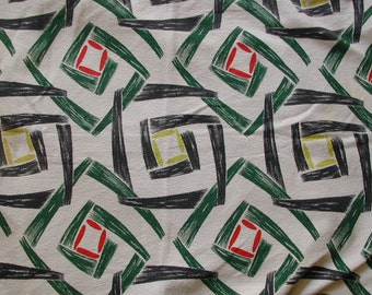 Vintage 1950s Barkcloth Iconic Abstract Pattern Retro Squares Design Fabric 6 pieces