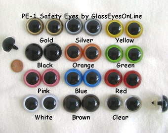 11 Pair 27mm or 30mm MIX COLORS Plastic Safety Eyes with washers for Puppets, Dolls, Teddy Bears, Sewing, Crochet Projects ( PE-1 )