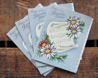 Vintage Sheet Music and Floral Birthday Party Invitations - Set of 4 - Birthday, Celebration