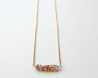 Handmade Sapphire Bar Necklace with AAA Faceted Sapphires on Gold Filled Chain