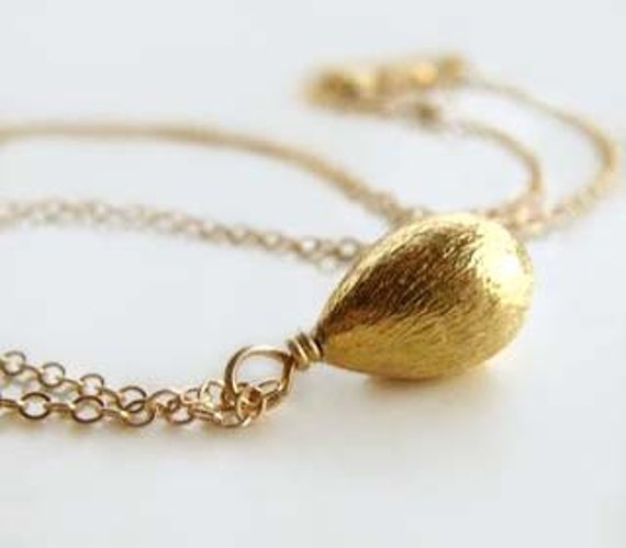 Frida Necklace with Brushed Gold Drop