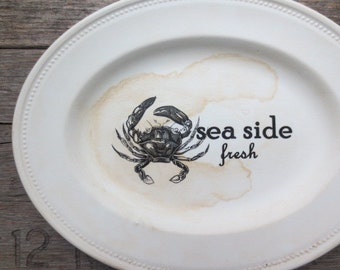 Crab Print // Beach Sign // Maine Art // Sea Side Sign // Nautical Beach House // Wall Decor  // Rustic Coastal //  ECO Friendly