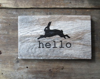 Minimalist - Barn wood - Scandinavian style design - Hello Sign - Woodland Rabbit -  Natural Home - Modern Hello Sign - Rabbit Silhouette