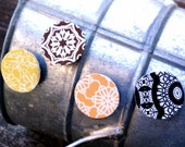 Magnets, Set of 4, Raised, Paper, Art, Decoupage, Modern, Graphic, Pattern, Flower, Lace, Star, Orange, Brown, Black, Yellow