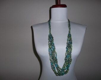 Crocheted Ladder Yarn Necklace 6 Strand Jazzi 6 Caribbean Seascape with Silver Metallic Yarn Adjustable Length