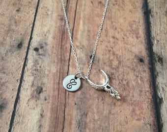 Boot spur initial necklace - boot spur jewelry, cowgirl necklace, country western necklace, rodeo jewelry, silver boot spur necklace