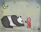 Panda Art Print Panda Love ,Panda and Boy in red striped pajamas with heart and pull toy Nursery Artwork Children's Room Decor