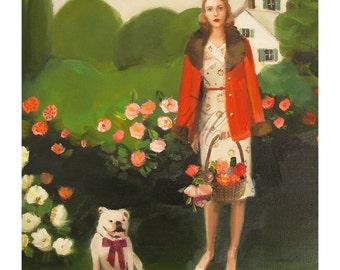 Beatrice In The Garden On Her Sixth Birthday- Art Print