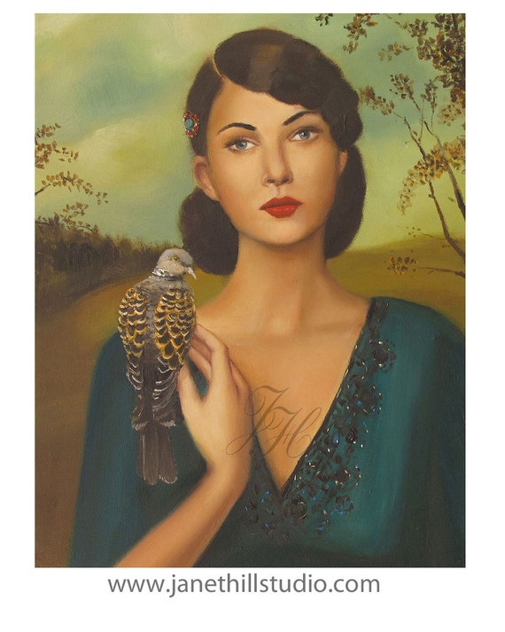 Elspeth With Her Turtledove- Art Print From Original Oil Painting