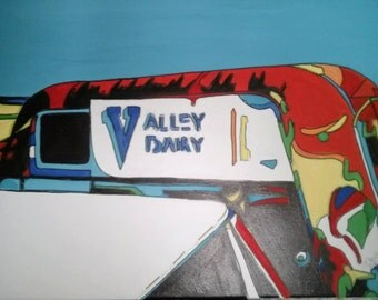 Valley Dairy Delivery Truck Abstract Pop Art