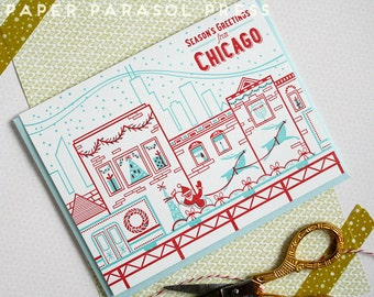 Season's Greetings from Chicago Holiday Train Letterpress Card