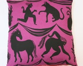 Trumps cushion cover prink with red/oatmeal backing