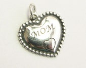 MOM Sterling Silver .925 Heart Charm Pendant with Open Jump Ring (1 piece)