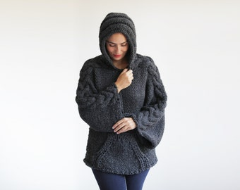 Plus Size Knitting Sweater with Hoodie by Afra